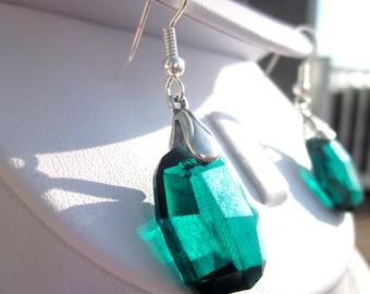 "Swarovski Crystal ""Graphic Emerald"" Earrings, Dangle Earrings, Classic Crystal Earrings"