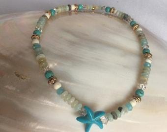 Starfish Anklet, Amazonite and Swarovski Crystal Anklet, Summer Jewelry