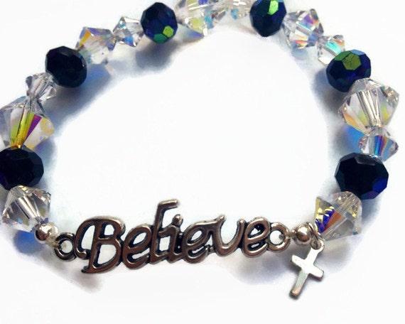 shop best sellers lowest discount kid Swarovski Believe Bracelet, Christian Bracelet, Faith Bracelet,  Inspirational Crystal Bracelet,Sale