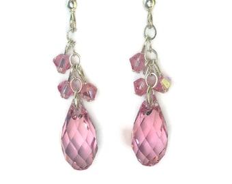 Swarovski Earrings, Pink Earrings, Dangling Earrings, Teardrop Earrings