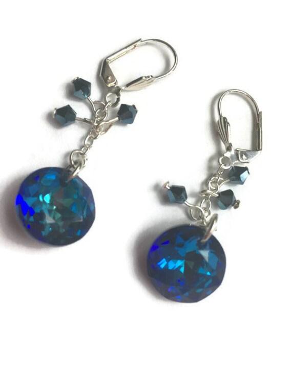 925 pendientes de Plata Hecho con Cristales de Swarovski Rivoli 14mm-Azul Verano