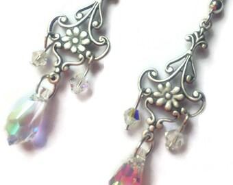 Ready to ship! On Sale, Chandelier Earrings, Flower Earrings, Sparkle Jewelry, Swarovski Crystal, Elegant Earrings, Teardrop Earrings