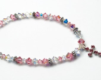 Swarovski Anklet, Pink Crystal Anklet, Cross Anklet,Summer Jewelry, Faith Anklet, Limited Edition