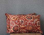 oriental rug pillows, 12 x 18, SET OF TWO, decorative kilim cushions, lumbar, red pillows, ethnic style, patchwork pillow covers home decor