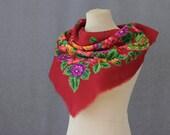 red Russian scarf, floral wool scarf, folk art, wool muffler, neckerchief, small square wool scarf, ethnic scarf Russian art, neck warmer