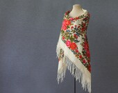 off white Russian shawl with flower garlands and fringe, made in Pavlovoposad, perfect for a rustic wedding