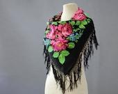Russian shawl, black fringed shawl, black with twigs and roses, folk shawl, ethnic scarf, feminine shawl, floral wool throw with tassels