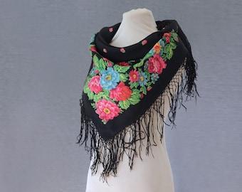 Babushka scarf, black with pink, green and blue, Russian shawl, folk art, ethnic scarf, wool neckerchief with field flowers, black shawl
