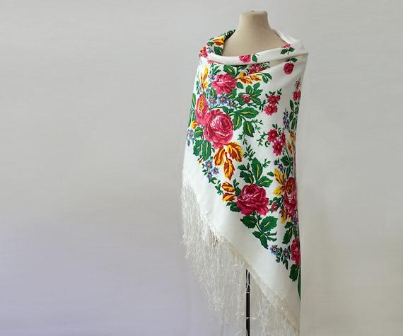 white Russian shawl, silk shawl, fringed shawl, wh