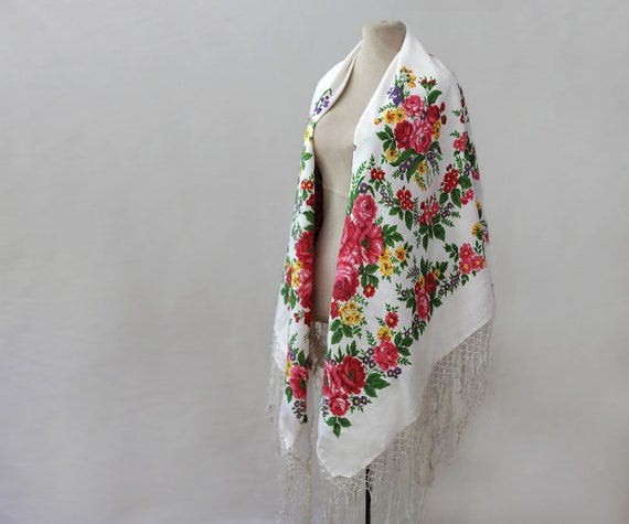 white Russian shawl, silk shawl, tasseled shawl, s