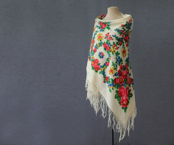off white Russian shawl, flower garlands, wool sha