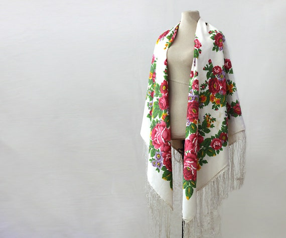 white floral silk shawl, white floral shawl, Russ… - image 2