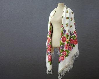 Reserved - silk Russian shawl, white shawl with dahlias and field flowers, a lightweight throw for summer parties or travel sl9