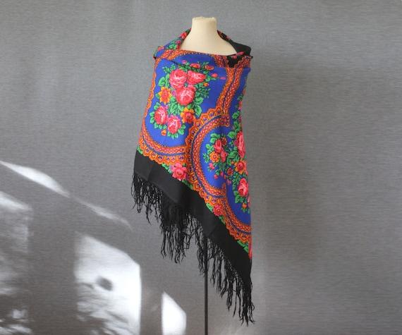 blue Russian shawl, oversized wool throw, indigo s