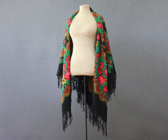 black Russian shawl with roses and ornament, pian… - image 4