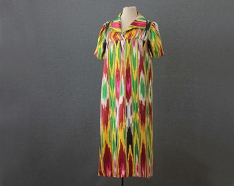 silk ikat Uzbek dress, loose fitting dress, green and yellow with red, Small through Large, NWT