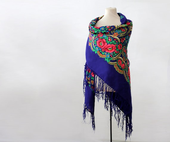 blue Russian shawl with green pink, oversized shaw