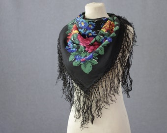 silk Russian shawl, black silk floral shawl with tassels, boho scarf, Pavlovo Posad shawl, silk floral headscarf