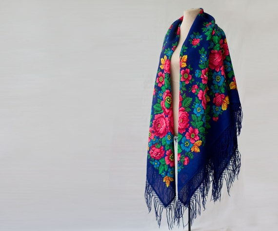 reserved blue Russian shawl with green and pink, o