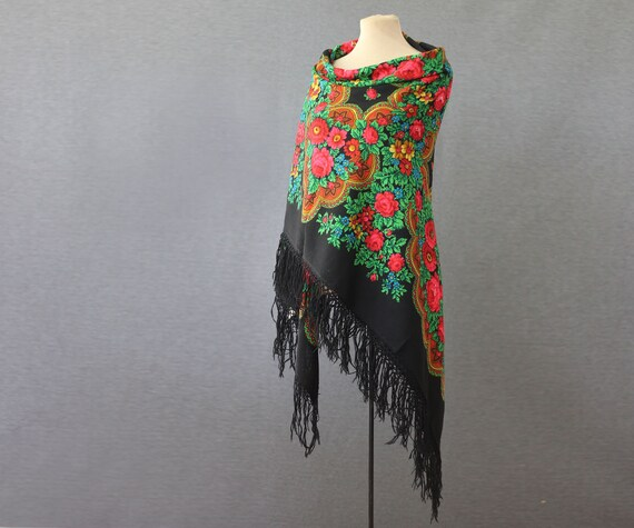 black Russian shawl with roses and ornament, pian… - image 1