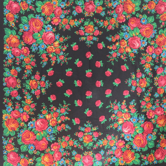 Russian shawl with roses and tulips, piano shawl,… - image 10