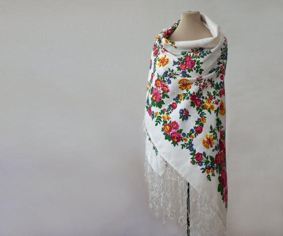 Russian shawl, silk shawl, tasseled shawl, white s