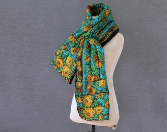 blue Russian scarf, wool puffer scarf in turquoise and yellow, quilted wool scarf