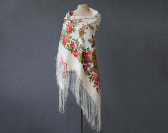 silk Russian shawl, white shawl with roses and field flowers, a lightweight throw for summer parties or travel