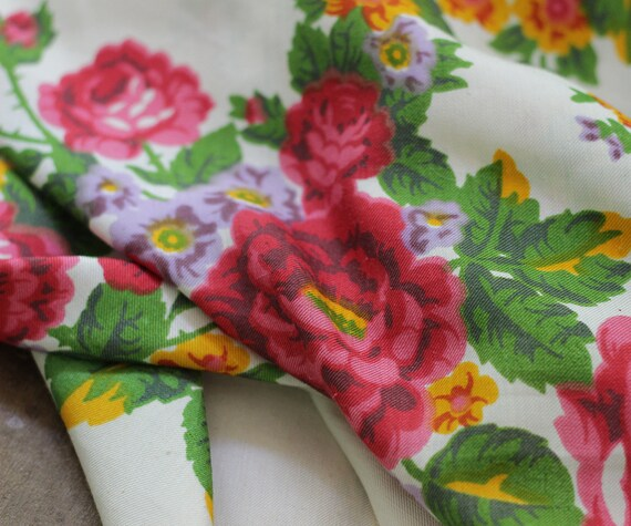 white floral silk shawl, white floral shawl, Russ… - image 4
