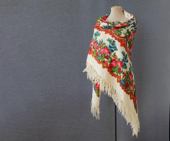 white Russian shawl, large wool shawl, warm wool t