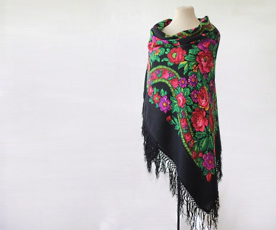 black Russian shawl with roses, dahlias and orname