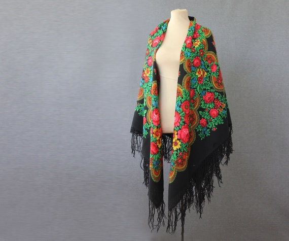 black Russian shawl with roses and ornament, pian… - image 2