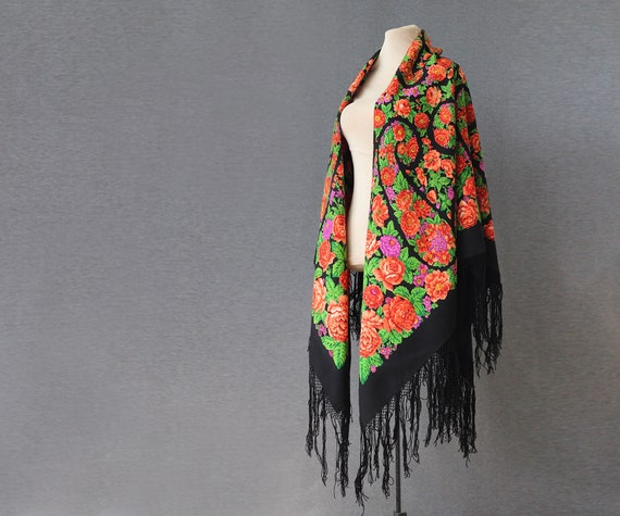 black Russian shawl with floral paisley, huge wool