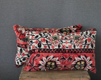 exotic rug pillows, 12 x 18, SET OF TWO,  decorative kilim cushions, lumbar, in dark pink, blue and cream, ethnic style, sale