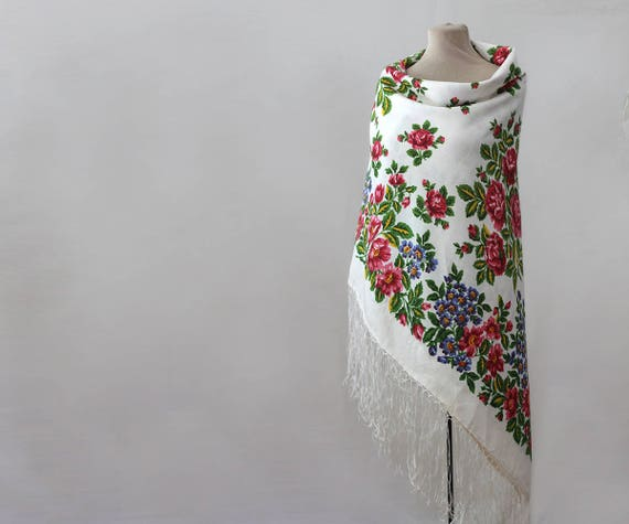 silk Russian shawl, white shawl with roses, summer