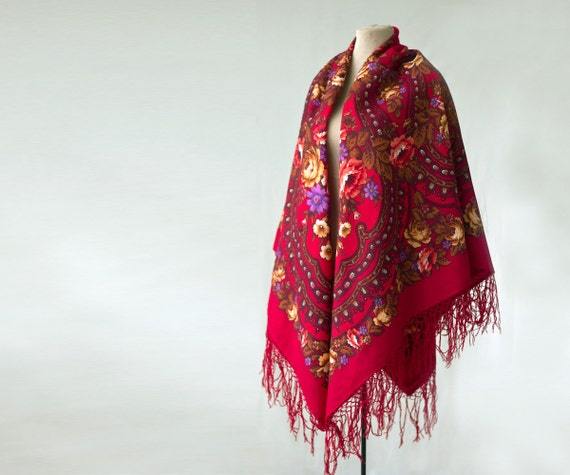 Ships from the US - dark red Russian shawl, rich r