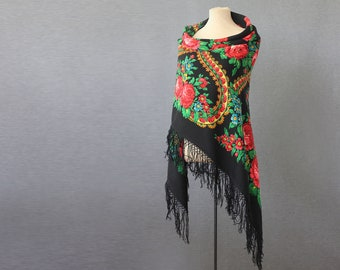 black Russian shawl with roses, field flowers and ornament, great for dancing or a garden party, gypsy shawl