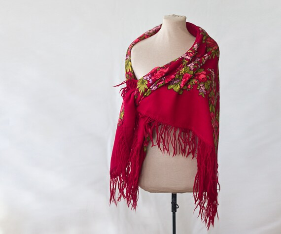 red Russian shawl, oversized shawl, red with roses
