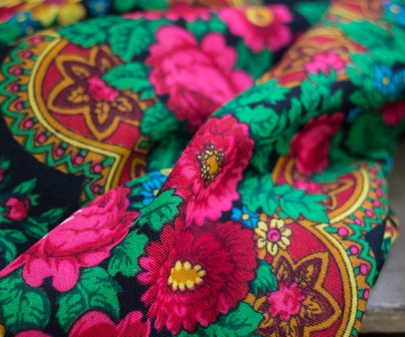 black Russian shawl with roses and ornament, pian… - image 9