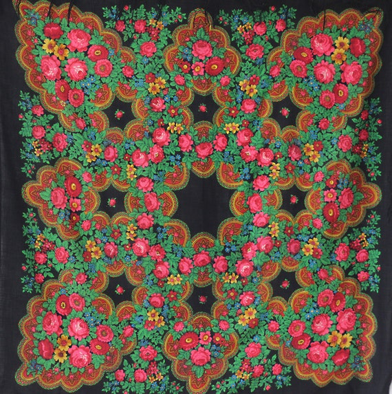 black Russian shawl with roses and ornament, pian… - image 10