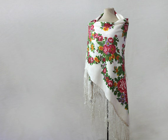 white floral silk shawl, white floral shawl, Russ… - image 1