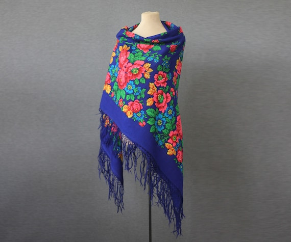 blue Russian shawl with green and pink, oversized