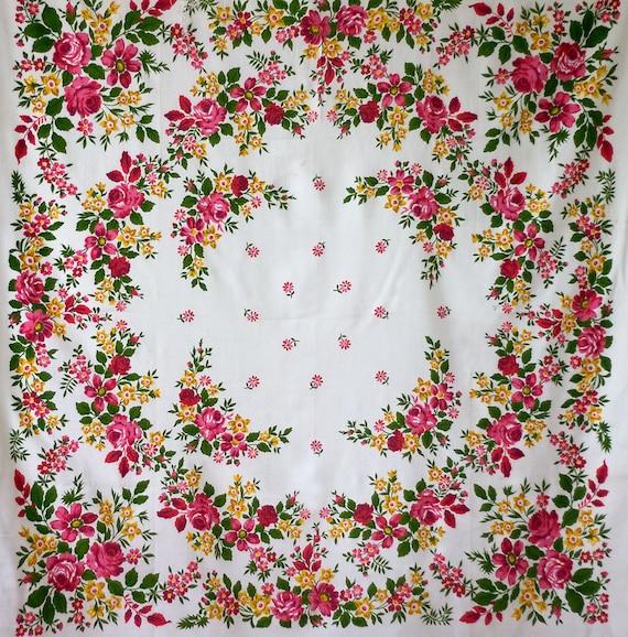 white floral silk shawl, white floral shawl, Russ… - image 8
