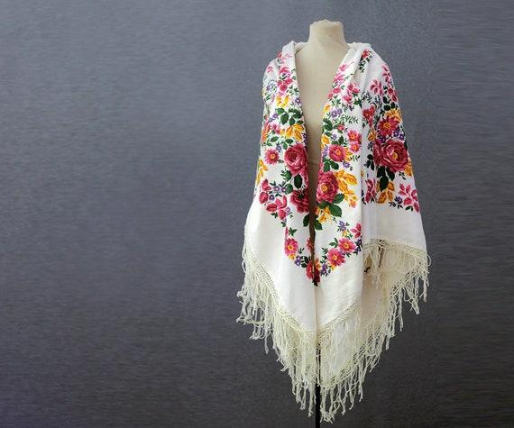 Russian shawl, cotton shawl, large shawl, floral t