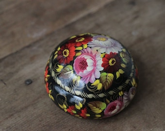 Russian lacquer box, round floral jewelry box, hand painted