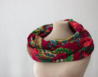 red infinity scarf, floral wool scarf, Russian scarf, maroon scarf, berry scarf, Russian shawl, cherry grape paisley, botanical scarf, 150