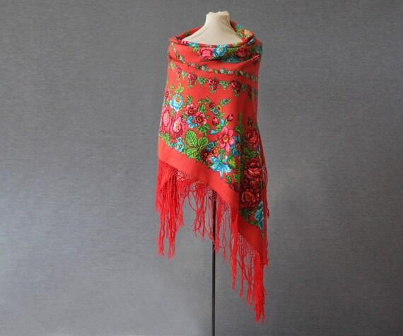 coral Russian shawl with roses, floral circles, fa