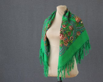 green Russian scarf in folk style, with roses and autumn leaves, a perfect ethnic accessory
