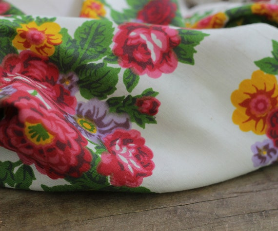 white floral silk shawl, white floral shawl, Russ… - image 5