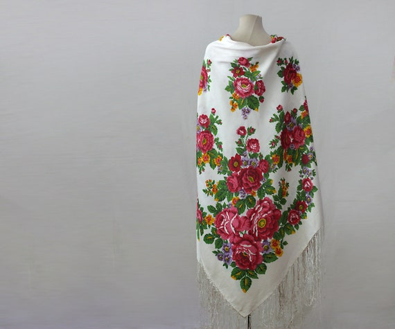 white floral silk shawl, white floral shawl, Russ… - image 3
